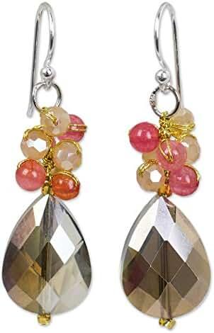 NOVICA Quartz Silver Plated Beaded Hook Earrings 'Spring Garden'