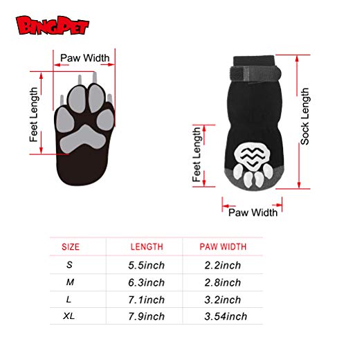 BINGPET Anti Slip Dog Socks for Hardwood Floors, Pet Paw Protectors with Grips XL