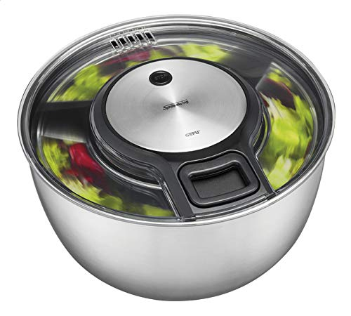 Gefu Salad Spinner Speed Wing, Drainer, Bowl, Sieve, Stainless Steel Design, Ø 27 cm, 28160 by GEFU
