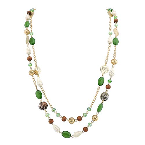 Bocar 14K Gold Plated Link Chain 2 Layer Crystal Wood Acrylic Colorful Women Party Long Necklace Gift (10084-green)