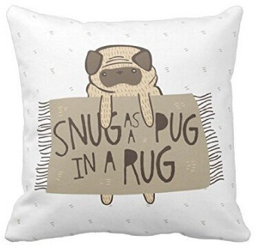- 41xY8LQg6lL - Cute Cartoon Funny Animals Snug as a Pug in a Rug Spft Square Decorative Throw Pillow Case Cover Twin sides Printing ,18×18 inches