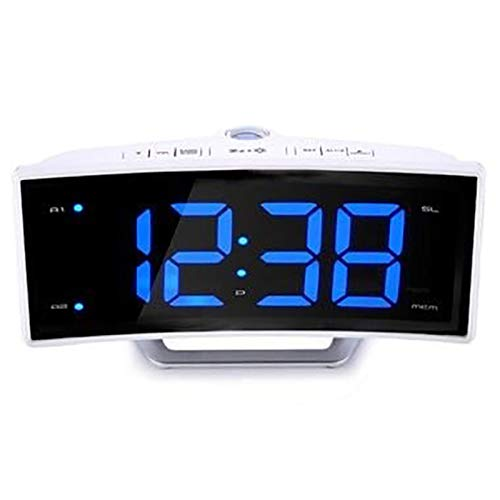 TOOGOO Fm Radio Alarm Clock Led Digital Electronic Table Projector Clock Desk Nixie Projection Alarm Clock with Time Projection White Shell Blue Number