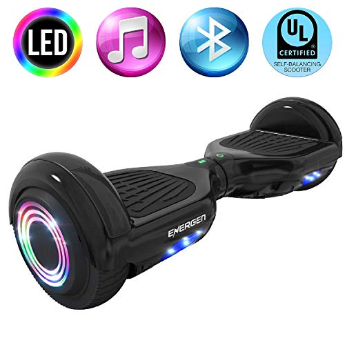 Energen En-HBB651BBK Hoverboard 6.5 Black Two-Wheel Self Balancing Scooter for Kids with Bluetooth Speaker LED Light-Ul2272 Certified