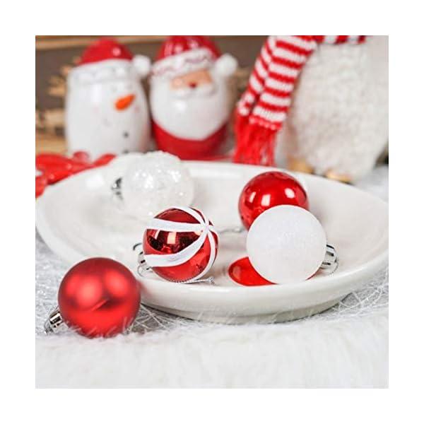 Sunshine smile Decorazioni Albero di Natale,Palle di Natale in plastica,Palline di Natale,Palline di Natale,Palline di Natale Decorazioni,Plastic Palline (Rosso Bianco Verde) 4 spesavip