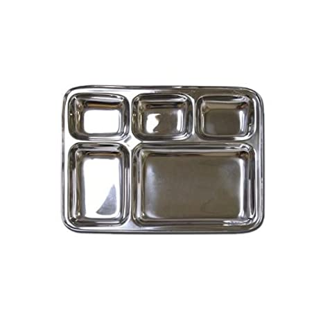 Amazon.com: Acero inoxidable rectangular dividida Cena ...