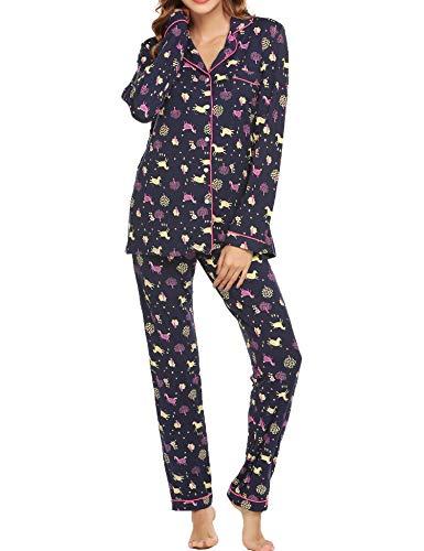 Ekouaer Ladies Pajamas Soft Knit Sleepwear Long Sleeve Two Piece Lounge Set (Christmas Tree,XS) ()