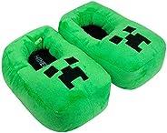 Creeper 3D Green Boy's Slipper, Plush Novelty Footwear Slip On for
