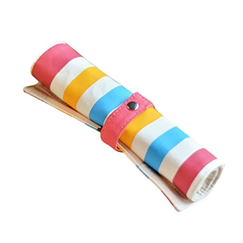 Clearance Sale! Wintialy Color Striped Fabric Rainbow Roll Pen Case School Supplies Gift - Final Sale Linen Shirt