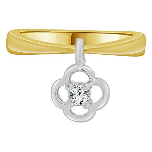 14k Yellow Gold White Rhodium, Small Baby Child Kid Ring Adult Pinky Ring Dangling Flower Created CZ Crystal by GiveMeGold