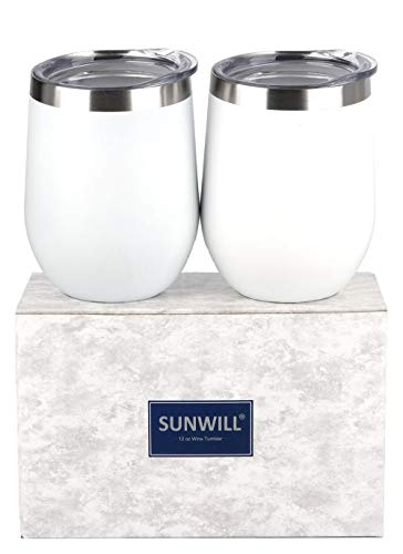SUNWILL Insulated Wine Tumbler with Lid White 2 pack, Double Wall Stainless Steel Stemless Insulated Wine Glass 12oz, Durable Insulated Coffee Mug, for Champaign, Cocktail, Beer, Office ()