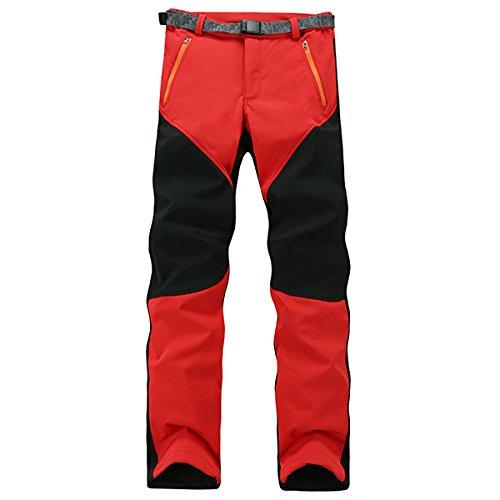 Alamor Herren Anti-Uv Polar Fleece Ski Pants Wasserdichte Hardwear Hosen-ROT & schwarz-XL