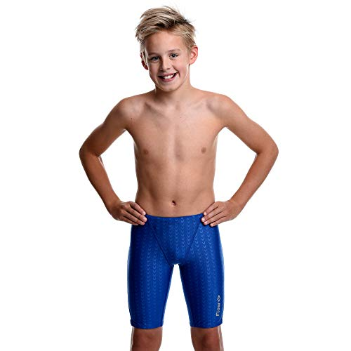 Flow Swim Jammer - Boys Youth Sizes 20 to 32 in Black, Navy, and Blue (21, Blue Crescents)