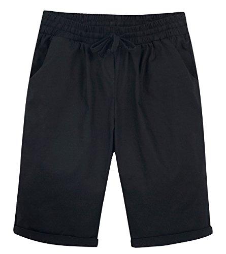 Chartou Women's Casual Elastic Waist Knee-Length Curling Bermuda Shorts (X-Larger, Black)