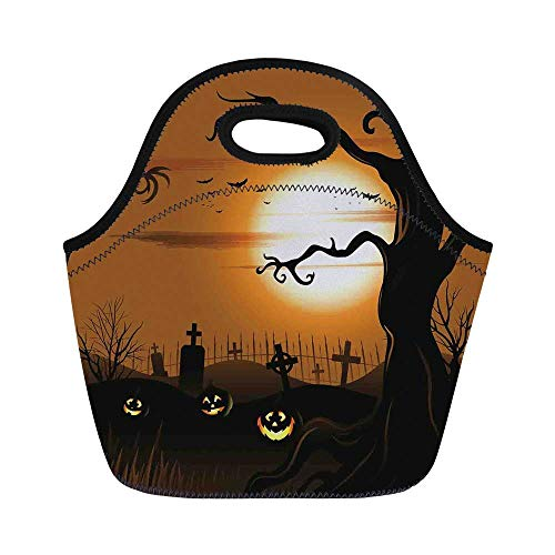 Halloween Decorations Durable Lunch Bag,Leafless Creepy Tree with Twiggy Branches at Night in Cemetery Graphic for School Office,11.0