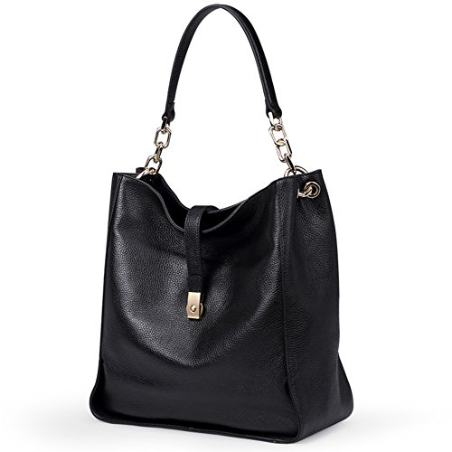 Genuine Leather Handbags for Women Soft Hobo Bag Supple Bucket Bag Totes Shoulder (Bucket Tote Hobo Handbag)
