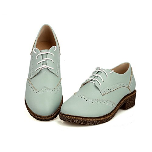 VogueZone009 Women's Soft Material Lace up Round Closed Toe Low Heels Solid Pumps-Shoes Blue Z2pFi6