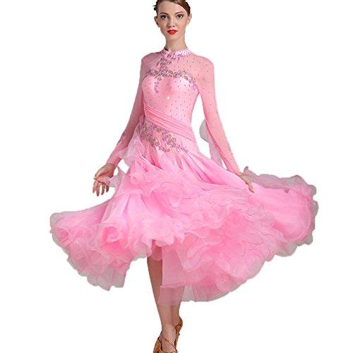 m Tango Jupe Couleur Standard Pink Performance Salle Robes Plus Salon Costume À De Longue Bal Expansion Pour Wqwlf Valse Danse Nouveau Moderne Manche Concours TAnx5nqg1O