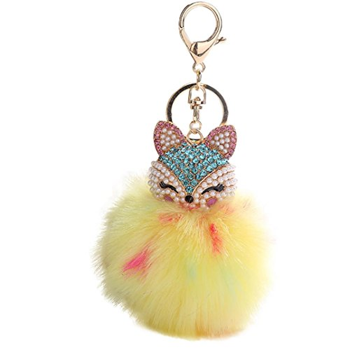 (Iuhan 9CM Fashion Fox Inlaid Drill Pendant Women Key Ring Holder Pompoms Key Chains Gift (Yellow))