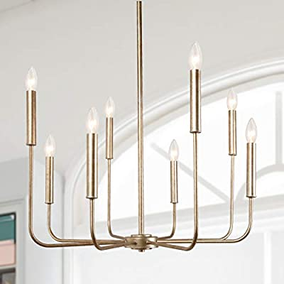 "LALUZ Champagne Gold 8-Light High End Modern Chandelier for Dining, Bedroom, Living Room and Kitchen,26.4"" W x 35.4"" H, A03225"