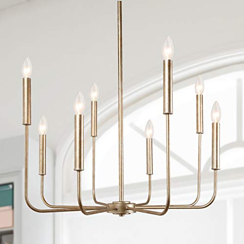 """LALUZ A03225 Champagne Gold 8-Light High End Modern Chandelier for Dining, Bedroom, Living Room and Kitchen,26.4"""" W x 35.4"""" H"""