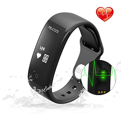 Today 65% Off ! MGcool Fitness Tracker Heart Rate Monitor,IPX7 Waterproof Smart Bracelet Band, Bluetooth 4.0 Upgraded Screen Smart Wristband with Activity Tracker/Sleep Monitor for iOS Android Phone
