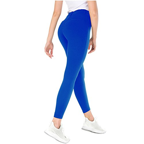 Bamans Yoga Dress Pants, Tummy Control Workout Leggings for Women, Office Strechy Skinny Pants, Blue M