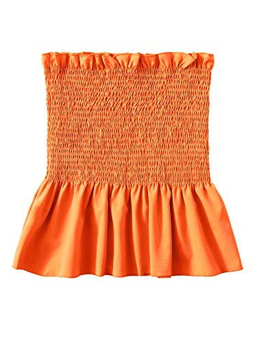 (SheIn Women's Frill Strapless Ruffle Hem Pleated Bandeau Tube Peplum Top Blouse X-Large Orange)