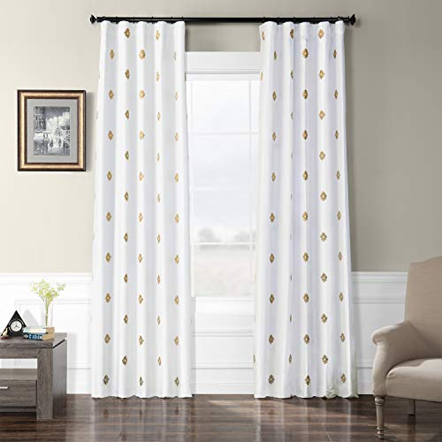 (HPD Half Price Drapes EFSCH-18052C-96 Embroidered Faux Silk Taffeta Curtain 50 x 96 Trophy Gold)