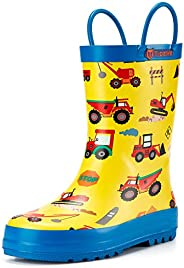 TideWe Rain Boots for Kids and Toddlers, Children Natural Rubber Rain Boots with Easy-On Handles, Waterproof L