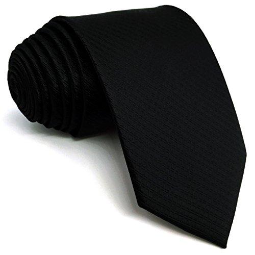 Shlax&Wing Solid Color Black Neckties For Men Classic Tie XL 63' 57.5' Slim Skinny