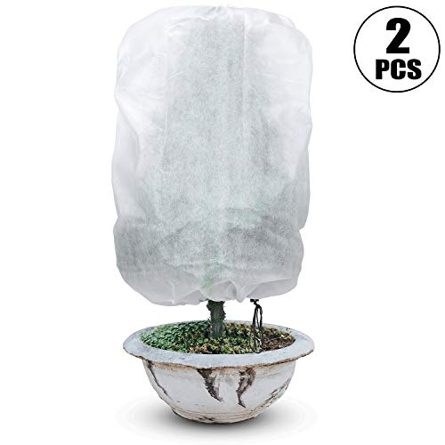Boao 2 Pieces Plant Covers Drawstring Plant Freeze Protection Covers Rectangle Plant Cover for Winter Plant Frost Cold Protection (47 x 71 inch)