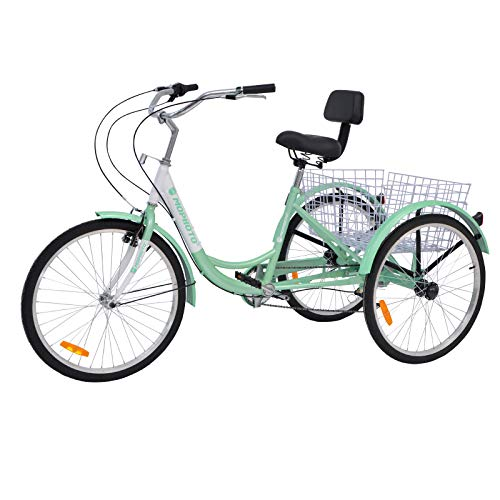 MOPHOTO Adult Tricycle 1/7 Speed Three Wheel Bikes for Adults, Meridian 26 Adult Tricycle for Men/Women/Seniors (Green, 26-Inch Wheels 7-Speed) (Best 3 Wheel Bike For Adults)