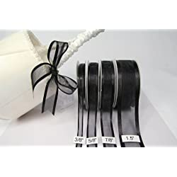 Black Organza Ribbon With Satin Edge, 25 Yards