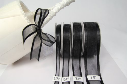 Black Organza Ribbon With Satin Edge-25 Yards X 3/8 Inches