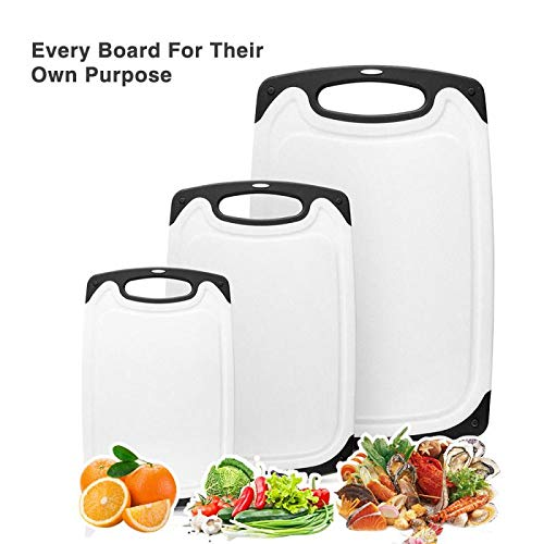 Chefaid Heavy Duty Dishwasher Safe Plastic Cutting Board Set of 3, Non-Slip Feet and Drip Juice Groove, Reversible Chopping, BPA Free ()