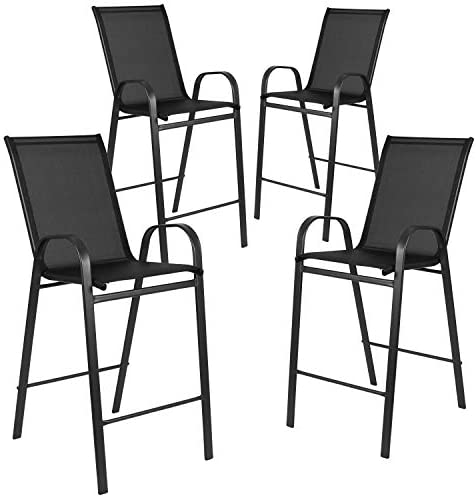 Flash Furniture 4 Pack Brazos Series Black Outdoor Barstool with Flex Comfort Material and Metal Frame