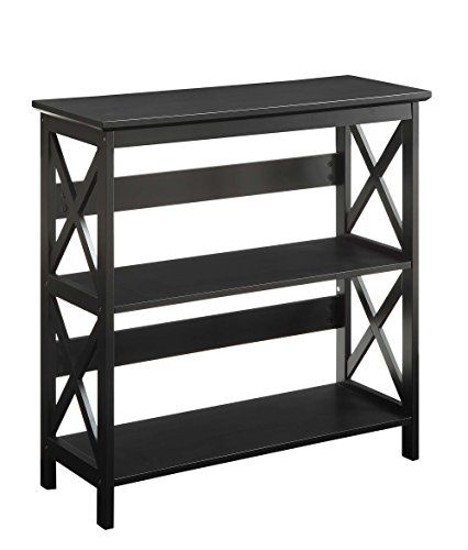 Oxford 3-Tier Bookcase, Black (Heritage Home Office)