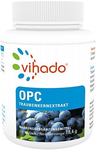 Vihado Traubenkernextrakt OPC - Kapseln Premium aus reifen roten Weintrauben, 110 Kapseln, 1er Pack (1 x 18,4 g)