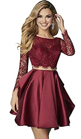 Alinafeng Women's Lace Long Sleeves Two-Piece Short Prom