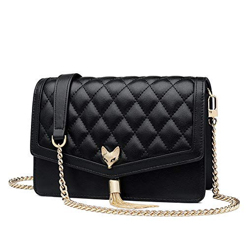 FOXER Women Leather Crossbody Bag Small Handbag Purse Quilted Bag With Metal Chain Strap (Black) (Quilted Chain Strap Handbag)