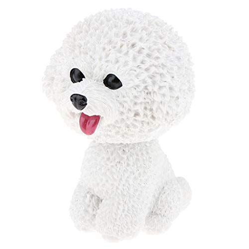 SM SunniMix Resin Shaking Head Dog Puppy Bobble Head Animal Model, Car Vehicle Dashboard Decors, Dollhouse Miniature Pets - Bichon Frise (Dog House Bichon Frise)