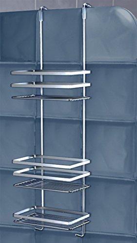 DUSCHY 3 Etagen Hängeregal - Hänge-Duschablage Duschkorb Duschregal Badregal Regalsystem, ohne Bohren mit Glaskantenschonern - Made in Sweden