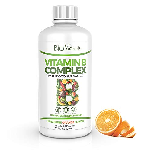 Bio Naturals Vitamin B Complex Liquid Supplement – 100% Natural Energy Boost with Vitamins B1 B2 B3 B5 B6 B12 & Organic Coconut Water for Stress, Mental Focus & Healthy Immune System – 32 fl oz