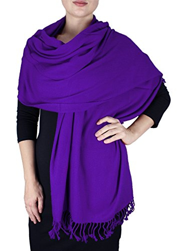 Elegant Soft Luxurious Pashmina Cashmere Wrap shawl stole From Peach Couture(Purple)
