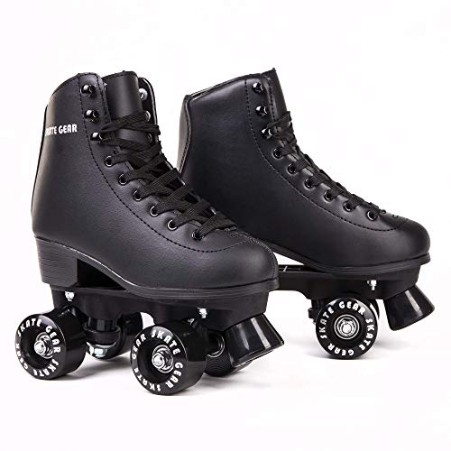 C SEVEN Roller Skates for Outdoor Skating Faux Leather (Black, Men's 7 / Women's 8)