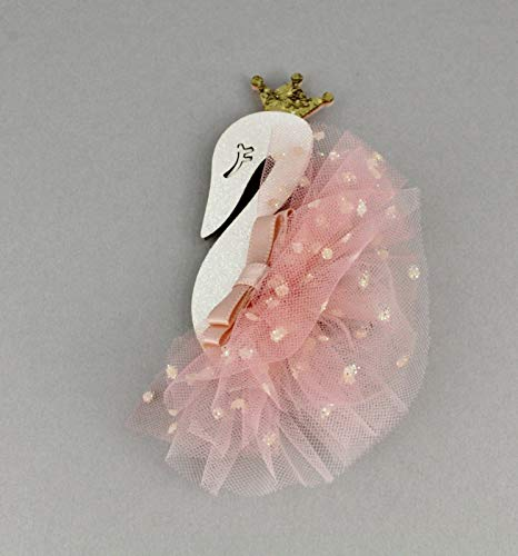 Peach White Swan Barrette Hair Clip Princess Ballet Tutu Sparkly Tulle Skirt Colored Hair Clips For Women Girls