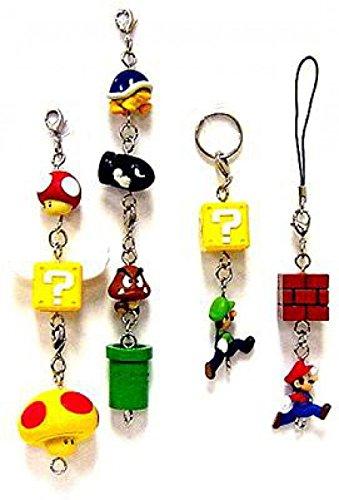 New Super Mario Bros Wii Phone Danglers Set of 11 Charm Keychains - Dangler Charm