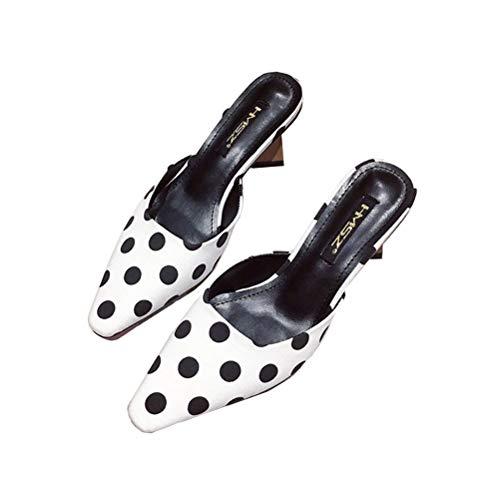 Metal Zapatillas Antideslizante Sandalias Cuero Respirable Esférico Mujer Zapatos White Fregar De Puntiagudo Talon Punto Verano Durable Duro Cuadrado StrBtqw