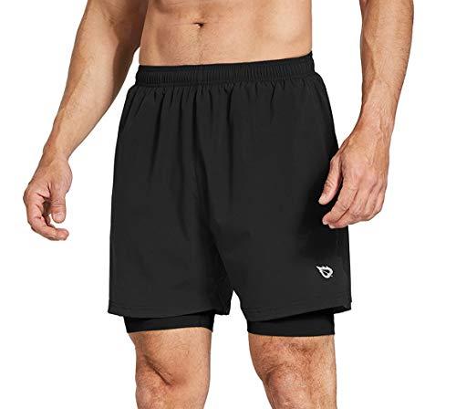 BALEAF Men's 2-in-1 Running Athletic Shorts Zipper Pocket Black/Black Size L (Best Long Distance Running Shorts)