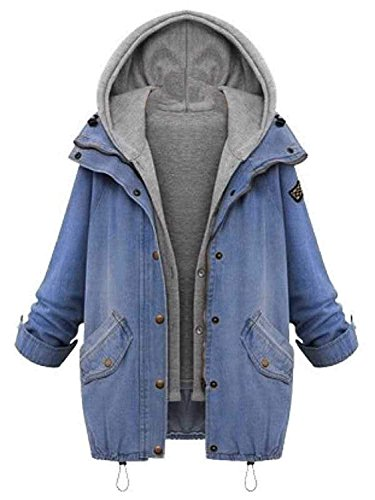 Milumia Women's Hooded Drawstring Boyfriend Trends Jean Swish Pockets Two Piece Coat Jacket Small Blue-1